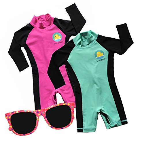 Swim with Me- SPF 50+ Sun Protection Swimsuit for Infant, Baby, Toddler 0-24 Months. (18-24 Months, Teal/Magenta (Value 2 Pack))