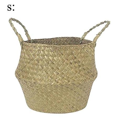 Belly Panier à linge à laver Jouets Plante Pots de fleurs Panier Naturel de rangement Paille Naturel pour le rangement à linge pique-nique Pot Housse et sac de plage S Chem0-super