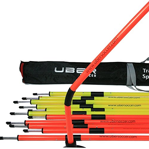 Spring Loaded Poles - Uber Soccer Speed and Agility Training Poles -Spring Loaded Training Poles - Set of 12