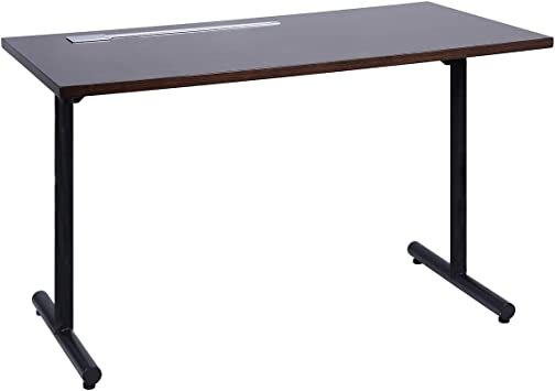 Amazon Com Sunon Home Office 47 Computer Desk Wood Writing Table With Cable Managemant Black Metal Frame Dark Oak Furniture Decor