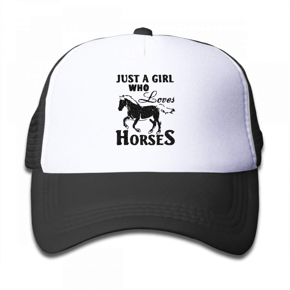 Kid's Boys Girls Just A Girl Who Loves Horses Youth Mesh Baseball Cap Summer Adjustable Trucker Hat