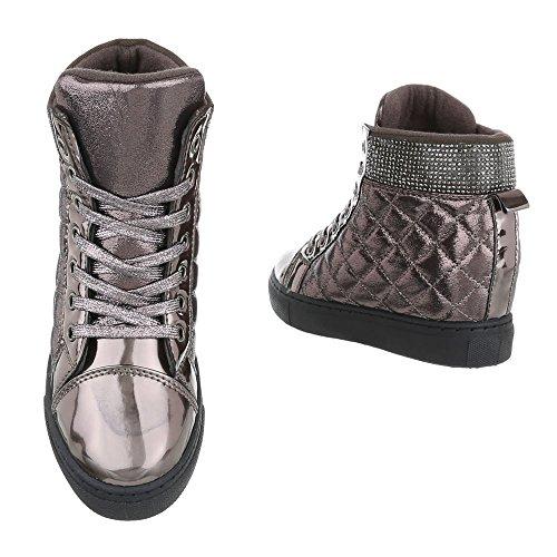 Ital-Design - Zapatillas altas Mujer gris plateado