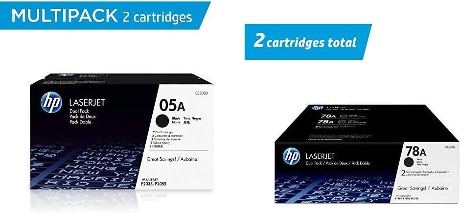 HP 05A   CE505D   2 Toner Cartridges   Black & 78A   CE278D   2 Toner Cartridges   Black