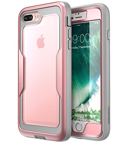 iPhone 7 Plus case, i-Blason [Heavy Duty Protection] [Magma Series] Shock Reduction/Full body Bumper Case with Built-in Screen Protector for iPhone 8 Plus 2017 (Pink) ()