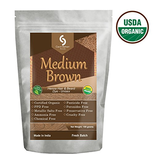 Cavin Schon USDA Certified Organic Medium Brown Henna - 100% Natural/Organic & Chemical Free Hair color/dye