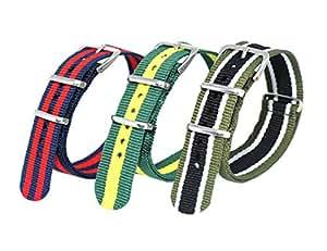Jilafer Watch Bands 3 Pcs Premium Ballistic Nylon Straps NATO Style - Size 18mm Color 01
