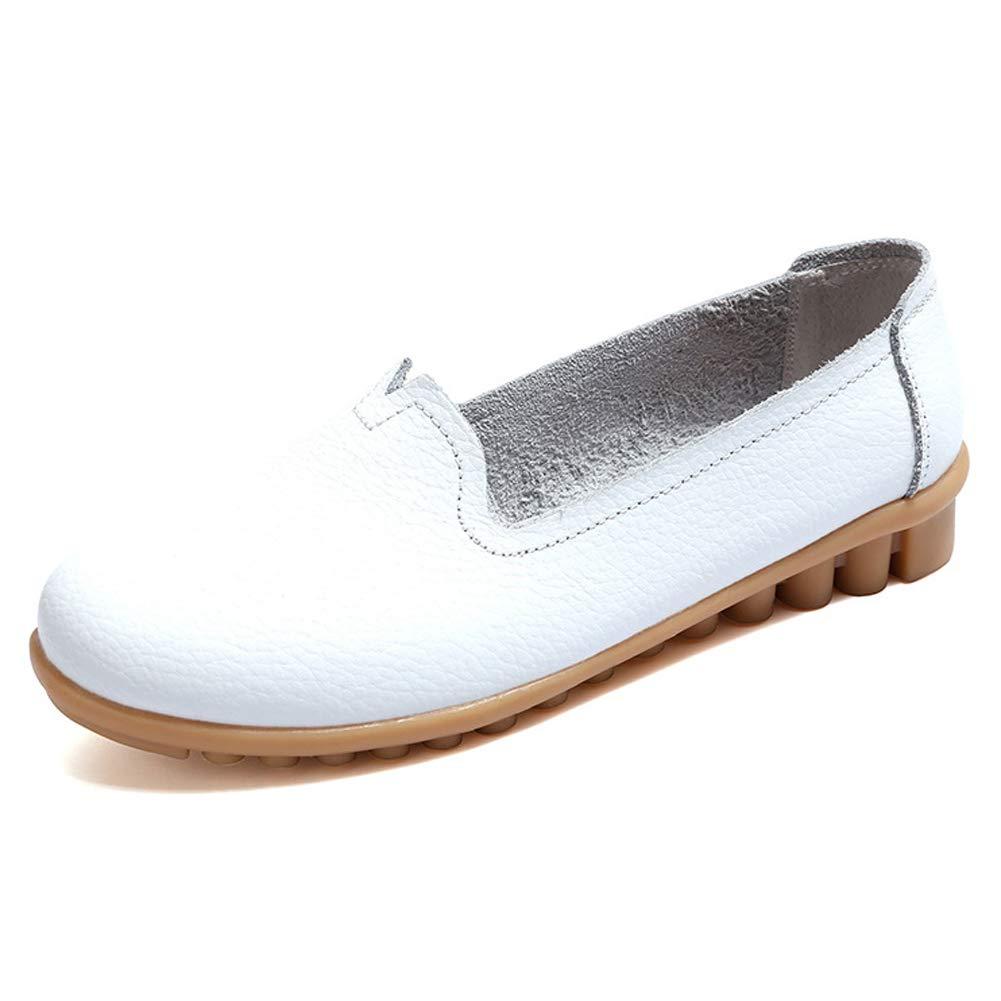 GESIMEI Mujer Cuero Loafers Mocasines Casual Zapatos de Conducción Planas: Amazon.es: Zapatos y complementos