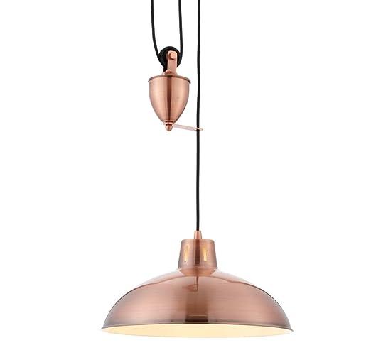Modern Rise and Fall lámpara de techo en acabado de cobre ...