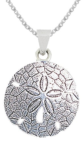 New 0.925 Sterling Silver Sand Dollar Aquatic Pendant Necklace