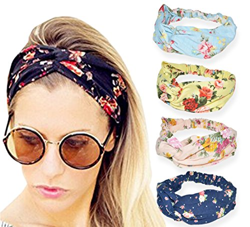 4 Pack Headbands Vintage Elastic Printed Head Wrap Adjustabl
