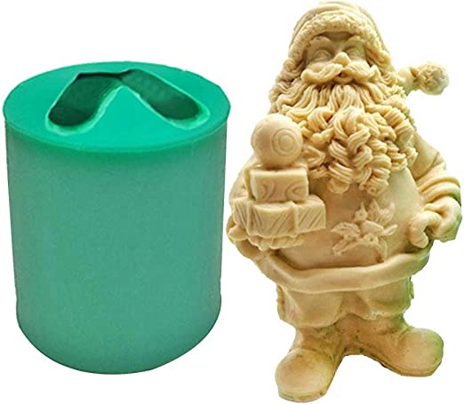 クリスマスキャンドル型、1.73x1.57x2.95インチの再利用可能な3Dクリスマスサンタ樹脂型、フォンダン石鹸型、DIY置物工芸品、クリスマスケーキの装飾用樹脂粘土工芸型