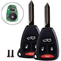 SCITOO 2 PCS Uncut Remote Head Key Fob Keyless Entry for Jeep Dodge Chrysler KOBDT04A