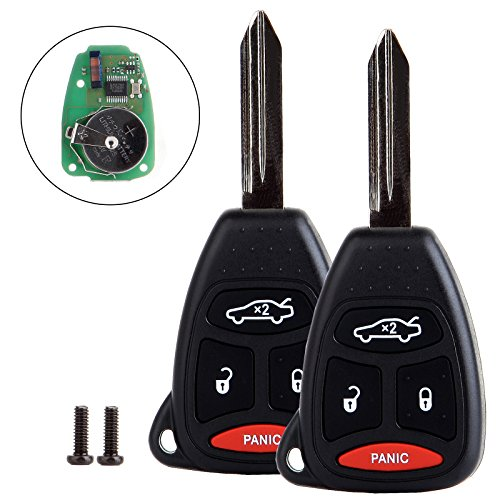 ECCPP 2X Uncut 4 Buttons Ignition Key Fob Replacement fit for Chrysler 300 Aspen/Dodge Charger Durango/Jeep Commander Grand Cherokee OHT692713AA OHT692427AA OHT692714A KOBDT04A