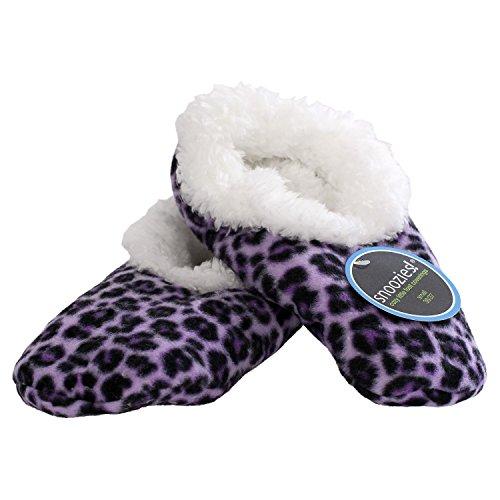 Snoozies Tried & True - flauschige, wärmende Kuschelschuhe, Hausschuhe 6000/6001/6002 leopard violett