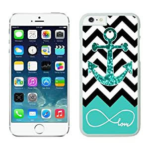 FAGUO Most Popular Infinite Love Teal Glitter Anchor iPhone 6 Case White