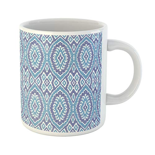 Semtomn Funny Coffee Mug Abstract Dark Blue Stripes on Exotic Batik Fantasy Ikat 11 Oz Ceramic Coffee Mugs Tea Cup Best Gift Or Souvenir