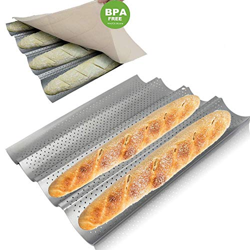 Walfos Baguette Pan Set-Food Grade Nonstick Coating Perforated Baguette Bread Pans for French Bread Baking 4 Loaves, with Professional Bakers Couche Proofing Cloth