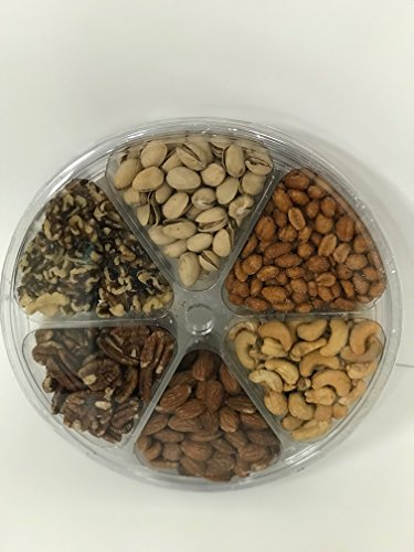 Holiday Gourmet Food Nuts Gift Basket Includes, All Natural Pistachios Roasted & Salted, Raw Walnuts, Raw Pecans, Honey Glazed Peanuts, Roasted & Salted Almonds, Roasted & Salted Cashews