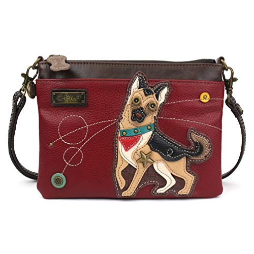 Chala Mini Crossbody/Purse with Convertible Strap Stylish, Compact, Versatile - German Shepherd Burgundy