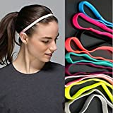 Yeshan Sports Headband No Slip Grip Hairband Elastic Single Band Silicone Lined Sweatband,pack of 12