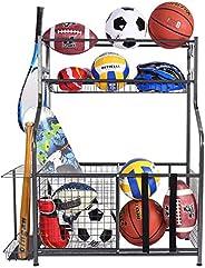 Mythinglogic Garage Storage System, Garage Organizer with Baskets and Hooks, Sports Equipment Organizer for Ki