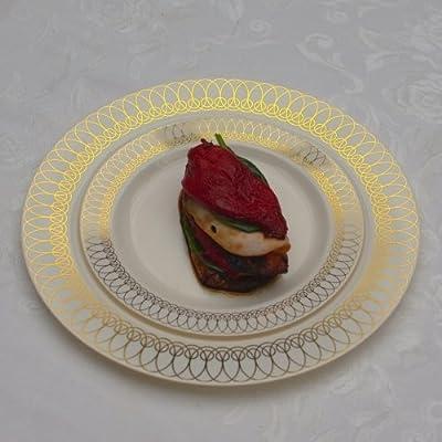 "Exquisite 40-Pack Plastic Plates (20-dinner 20-dessert) Set Premium Heavyweight Plastic Wedding Plates ""Looks Like China""..."