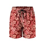 Red Tropical Flowers Leaves Mens Quick Dry Classic Fit Beach Shorts Drawstring