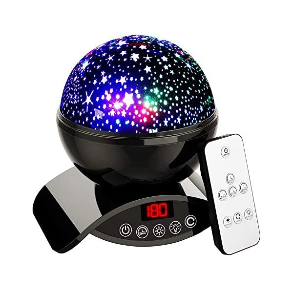 Elecbytes Star Projector Night Light for Kids – Baby Night Light Projector for Bedroom – with Timer Remote and Chargeable – Best Gift for Kids – Black