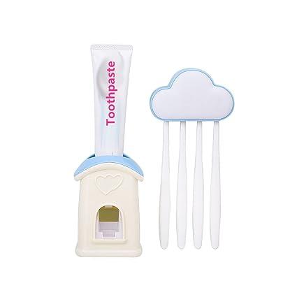 Nubes Diseño funda de soporte para cepillos de dientes con ventosa juego, a prueba de