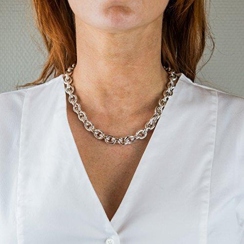 Bijou en argent - Collier ras de cou forçat oval