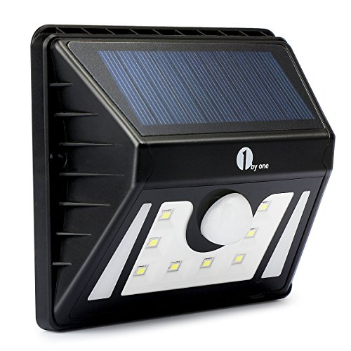 8 LEDs Weatherproof Solar Powered Outdoor LED Light, 3 Different Modes with Security Motion Sensor, Black