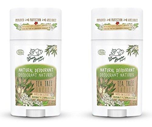 Green Tea Deodorant Stick - Green Beaver Tea Tree Natural Deodorant Stick (Pack of 2) with Organic Aloe Vera Juice, Sage Oil, Labrador Tea and Chamomile Flower Water, Aluminum-free, Gluten-free and Paraben-free, 1.76 oz