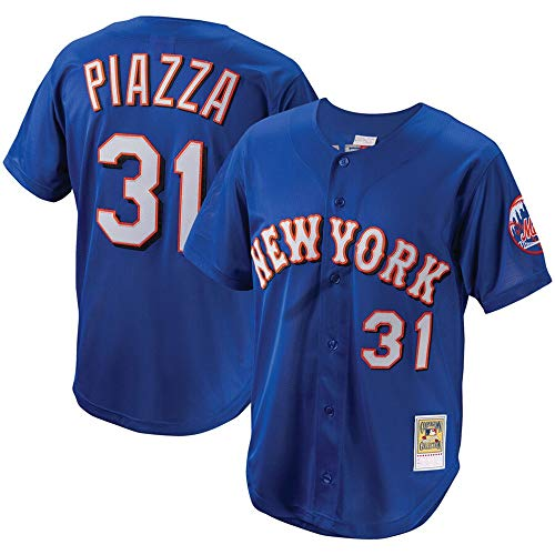 Mens #31 Mike Piazza New York Mets Cooperstown Collection Mesh Batting Practice Button-Up Jersey - Royal XL