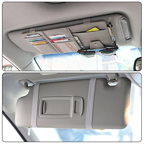 385e0d534b79 Vankcp Car Sun Visor Organizer, Auto Interior Accessories Sunglass Pen CD  Card Small Document Storage Pouch Holder, PU Leather, Multi-Pocket with ...