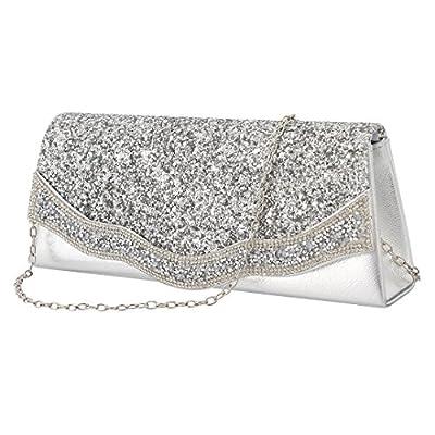 Gabrine Womens Evening Shoulder Bag Handbag Clutch Purse Shiny Sequins Rhinestone for Wedding Prom Party