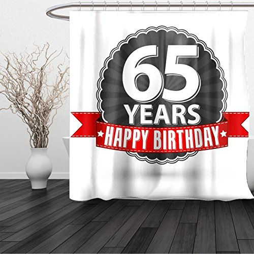 HAIXIA Shower Curtain 65th Birthday Classical Vintage Emblem with Sixty Five Years Icon Happiness Queen Full Red Grey White - Boston Red Sox Nutcracker