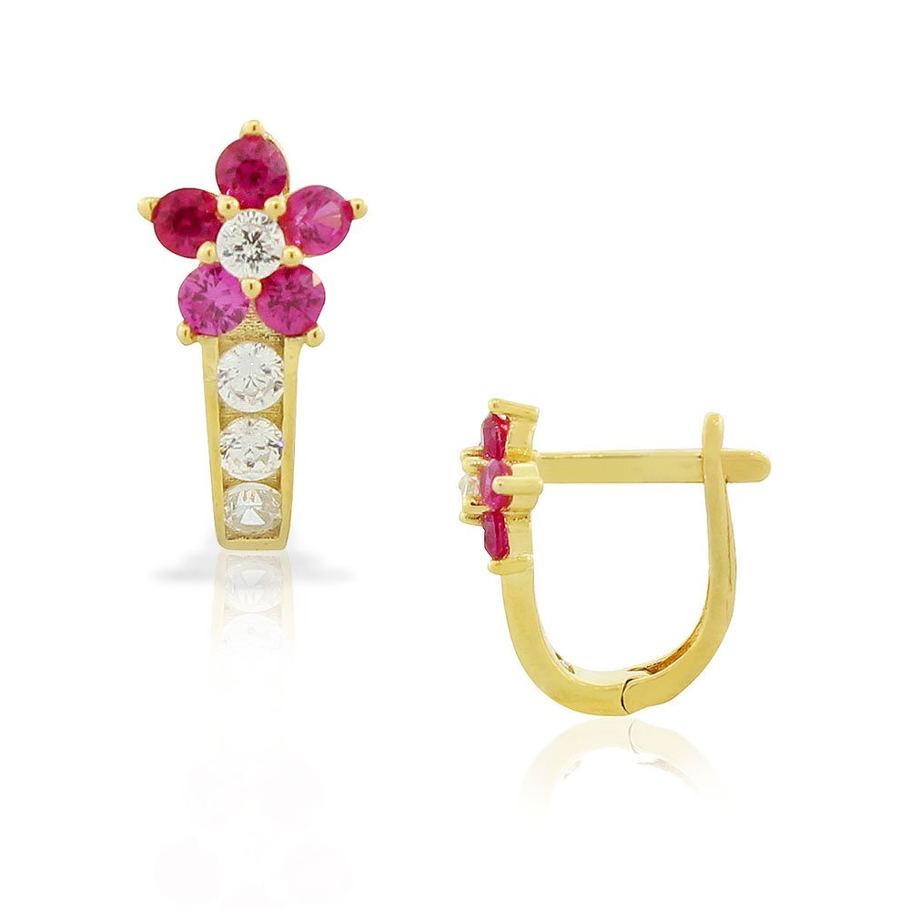 925 Sterling Silver Yellow Gold-Tone White Multicolor CZ Flower Hoop Huggie Small Earrings