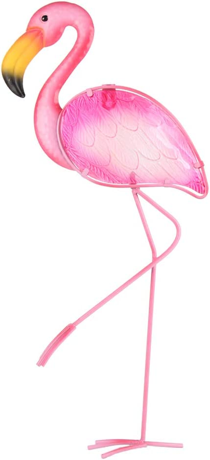 HONGLAND Metal Flamingo Wall Decor Outdoor Art Sculpture Hanging Pink Glass Decorations for Home Living Room Bedroom,21 Inches