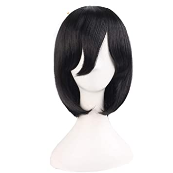 Short Straight Bob Wigs Black Dark Brown 14Inch Nautral Synthetic Hair Heat Resistant Halloween Cosplay Wig