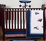 Red, White and Blue Vintage Aviator Airplane Plane Baby Boy Bedding 4 Piece Crib Set Without Bumper Reviews