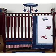 Red, White and Blue Vintage Aviator Airplane Plane Baby Boy Bedding 4 Piece Crib Set Without Bumper