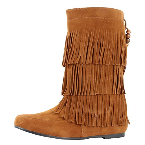 Lima Moccasin West Suede Blvd Boots Fringe Tan Womens wXBqEBS