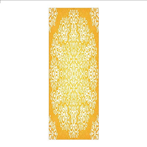3D Decorative Film Privacy Window Film No Glue,Yellow,Snowflake Like Floral Artistic Pattern Design with Tribal Inspired Artwork Decorative,Yellow and White,for Home&Office ()