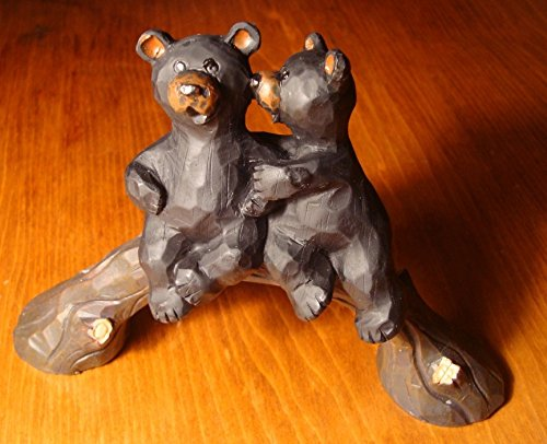 Kissing Black Bears Bridge Wood-Carved Rustic Lodge Log Cabin Home Decor