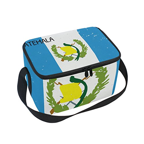 Distressed Guatemala Flag Insulated Lunch Box Cooler Bag Reusable Tote Picnic Bags for Travel, Camping, Hiking and RVing