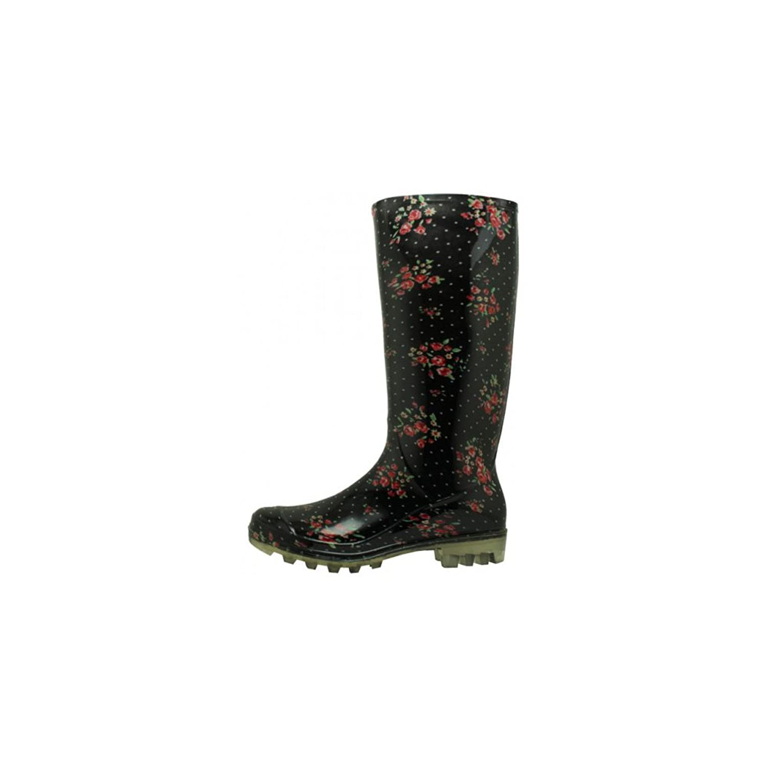 Women's Ladies Ditsy Floral Printed Lightweight Waterproof Rain Boots, 13 1/4 Inches