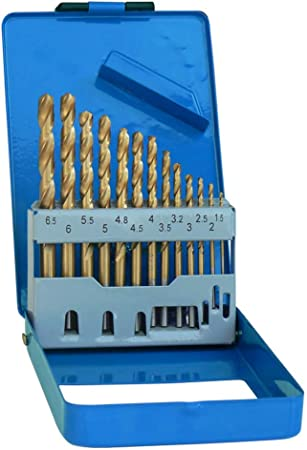 S&R Juego de 13 Brocas Metal Titanio HSS 1,5-6,5 mm, 135 ° DIN 338, Profesionales: Amazon.es: Bricolaje y herramientas