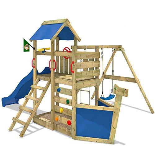 WICKEY Seaflyer Spielturm Rutsche Schaukel Sandkasten (blaue Rutsche / blaue Dachplane)