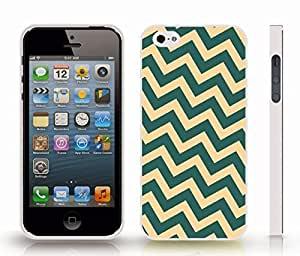Case For Sam Sung Note 4 Cover with Chevron Pattern Peach/ Light Jade Stripe , Snap-on Cover, Hard Carrying Case (White)