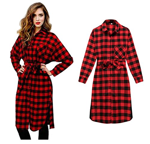 Cotton Plaid Belt - Women's Retro Long Sleeve Button Down Roll Up Plaid Shirts Dress with Belt ( L, Red )